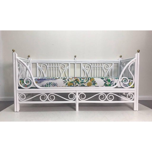 White Vintage Lyre Rattan Daybed For Sale - Image 8 of 8