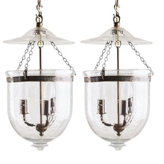 Grape Engraved Bell Jar Lanterns - A Pair For Sale