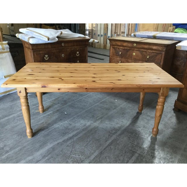 Late 20th Century Vintage French Pine Farm Table For Sale - Image 5 of 7