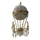 Image of 1970s Montgolfier Crystal and Brass Hot Air Balloon Chandelier For Sale