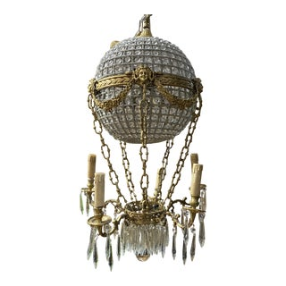 1970s Montgolfier Crystal and Brass Hot Air Balloon Chandelier