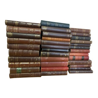 Set of 100 Scandinavian Leather-Bound Books For Sale