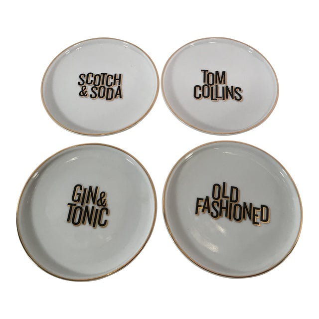Mixed Drink Ceramic Coasters - Set of 4 For Sale