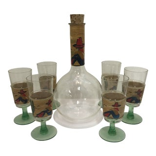 Authentic Mexican Glass Decanter Set - 7 Pieces For Sale