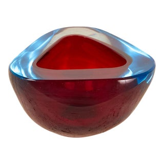 Red Sommerso Glass Bowl With Blue Accents For Sale