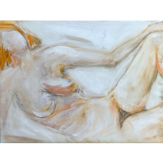 """""""Reclining Nude"""" by Trixie Pitts Neutral Abstract Nude Figure Oil Painting For Sale"""