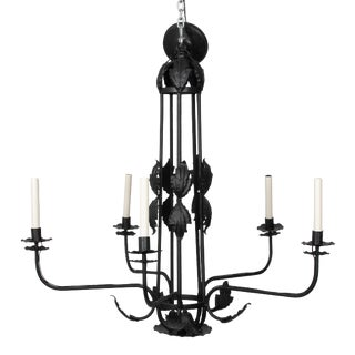 1930s Large Black Wrought Iron Leaf Chandelier For Sale