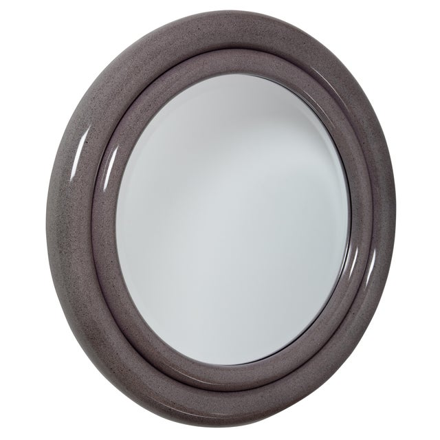 """Rare """"Double Bullseye"""" mirror by Karl Springer consists of two concentric, rounded frames. The inner band is smaller and..."""