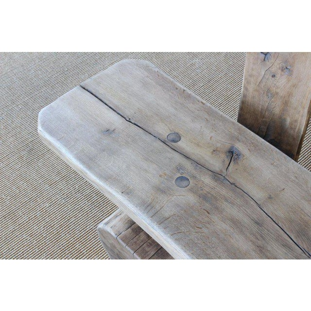 Rustic Pair of Oak Benches, France, 1960s. Sold Individually. For Sale - Image 3 of 12