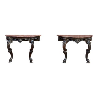 Ebonized Anglo Indian Console Table, Pair For Sale