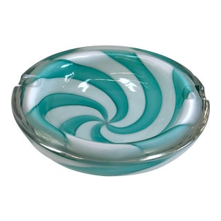 Retro Mid-Century Modern Turquoise Pinwheel Murano Glass Ashtray