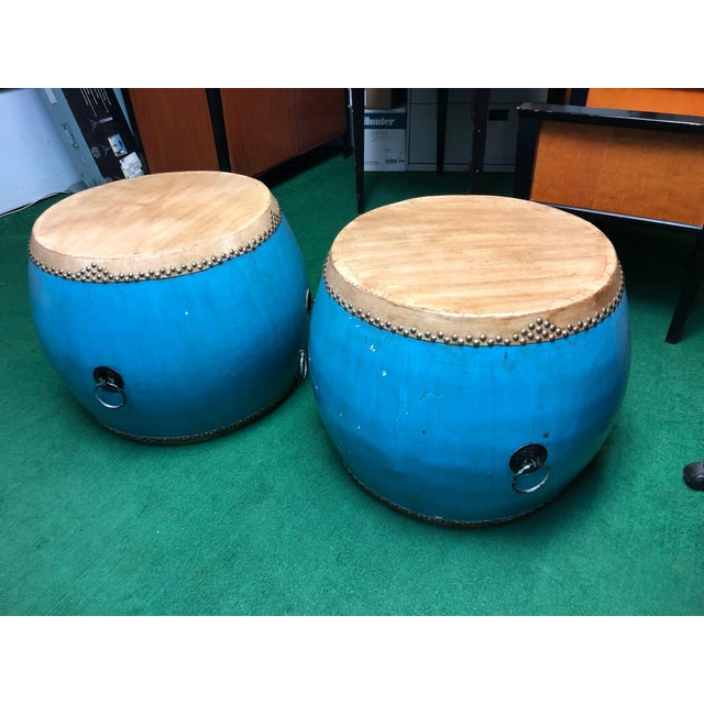 Chinese Turquoise Drums - a Pair For Sale In Los Angeles - Image 6 of 6