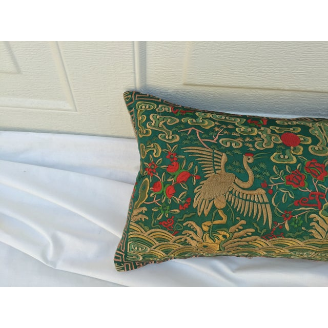 Chinoiserie Silk Crane Boudoir Pillow - Image 3 of 7