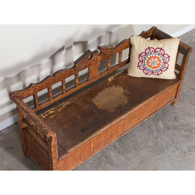 Hungarian Romanian Antique Painted Pine Bench circa 1875 For Sale - Image 9 of 11