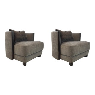 Modern Caracole Gray and Brown Commodore Lounge Chairs Pair For Sale