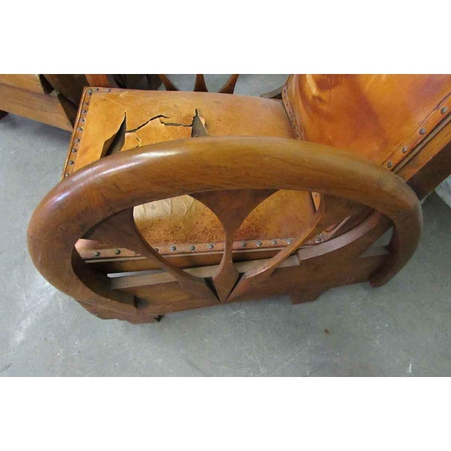 Carved Wood & Leather Lounge Chairs For Sale - Image 9 of 12