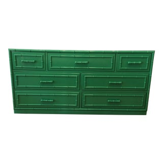 Dixie Aloha Faux Bamboo Green Lacquered Chest