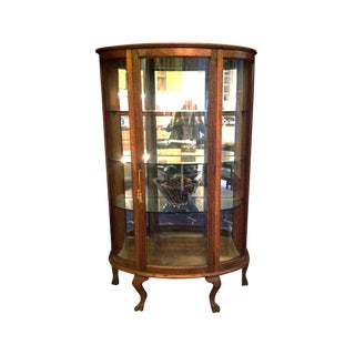 Antique Oak Curved Glass Curio Cabinet For Sale