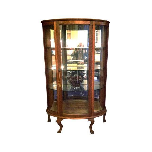 Antique Oak Curved Glass Curio Cabinet For Sale - Antique Oak Curved Glass Curio Cabinet Chairish
