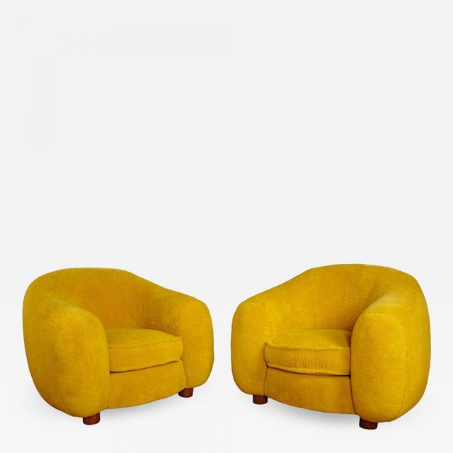 "Jean Royère Genuine Iconic ""Ours Polaire"" Pair of Armchairs in Wool Faux Fur For Sale - Image 11 of 11"