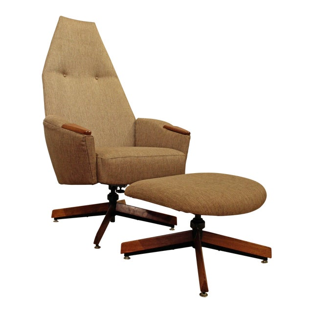 Mid-Century Modern Adrian Pearsall Lounge Chair & Ottoman 2174c For Sale