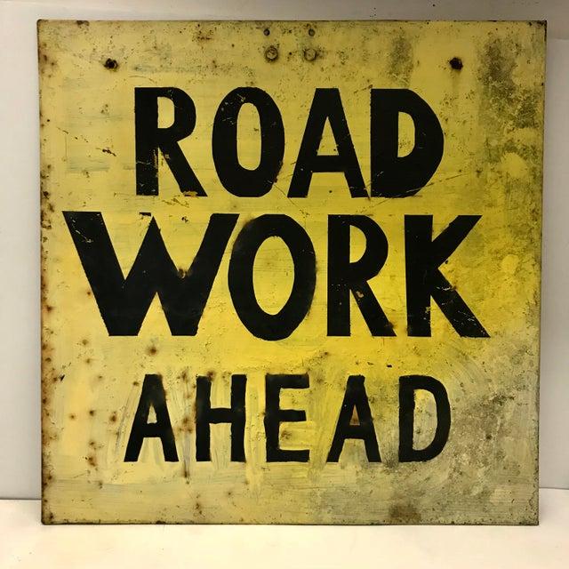 Vintage Industrial Road Work Sign For Sale - Image 4 of 4