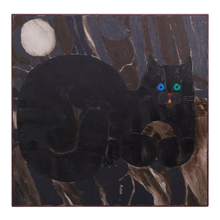 Mid-Century Modernist Painting on Canvas of Cat For Sale