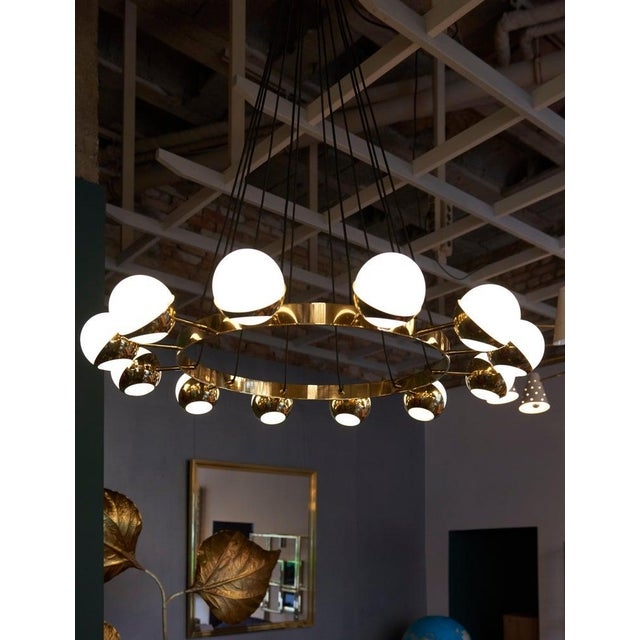 Huge Stilnovo Style Brass and Murano Glass Chandelier For Sale - Image 9 of 13