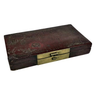 1900s Chinoiserie Leather Document Box For Sale