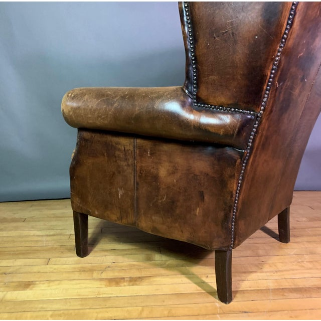 Mid 20th Century Vintage Stitched-Leather Wing Chair, 20th Century For Sale - Image 5 of 11
