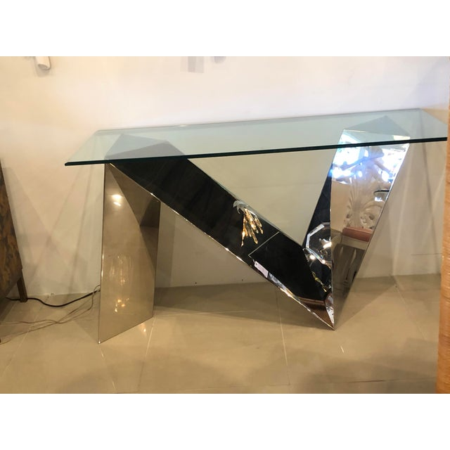 Vintage Modern Polished Stainless Steel Zig Zag Geometric Console Table For Sale - Image 11 of 12