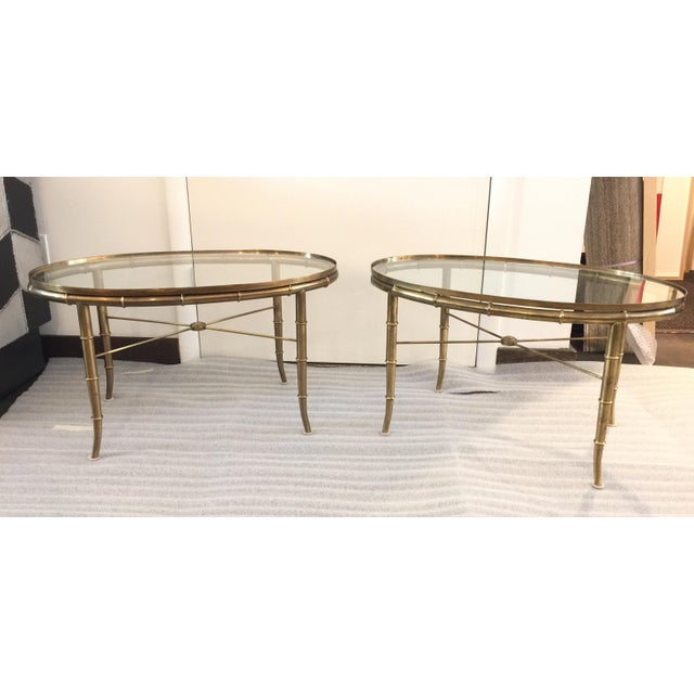 Gold Pair of Brass Faux Bamboo Mastercraft Oval Tables For Sale - Image 8 of 8