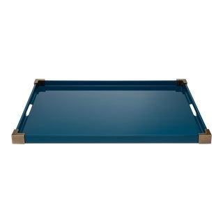Corners Tray Brass in Marine Blue / Brass - Rita Konig for The Lacquer Company For Sale