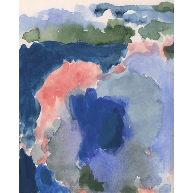 Contemporary Abstract Blue and Pink Print For Sale