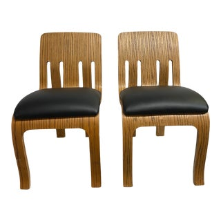 Thonet Bentwood Wood Chairs With Leather Seat - a Pair For Sale