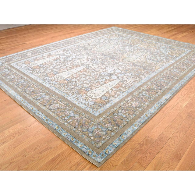 Modern Cypress Tree Silk With Oxidized Wool Hand-Knotted Rug- 9′1″ × 12′ For Sale - Image 3 of 13