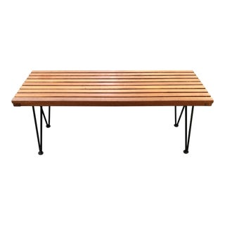 Sol-Air Pipsan Saarinen Mid-Century Slatted Wood Bench Hair Pin Legs For Sale