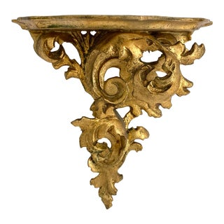 Florentine Gold Leaf Wall Shelf For Sale
