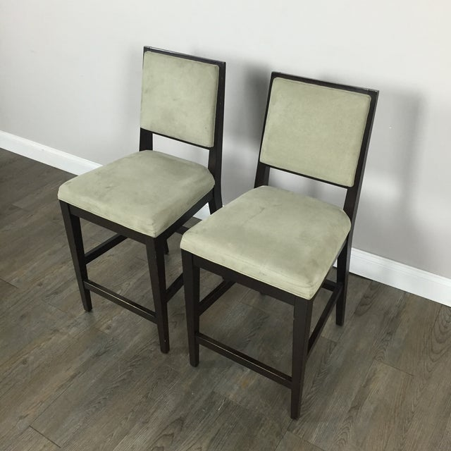 Crate & Barrel Upholstered Bar Stools - A Pair - Image 3 of 11