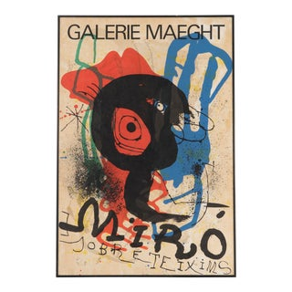 1973 Vintage Joan Miro Gallerie Maeght Jobre Teixims Poster For Sale