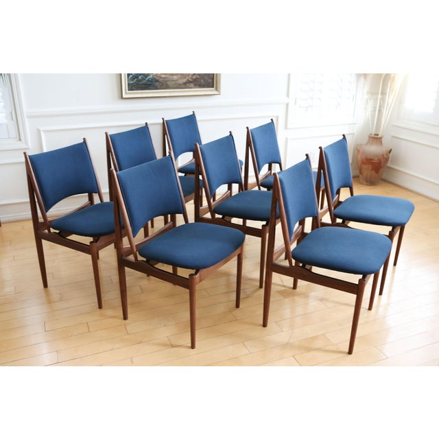 Contemporary Mid Century Modern Teak Dining Chairs in Navy Blue - Set of 8 For Sale - Image 3 of 11