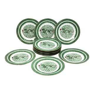 Vintage Hand-Painted Dragon Dinner Plates - Set of 12