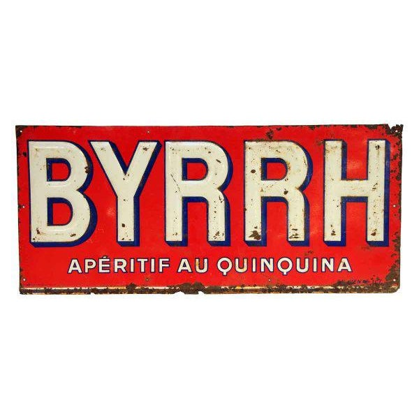 French BYRHH Red & White Liquor Signs - A Pair For Sale - Image 5 of 5