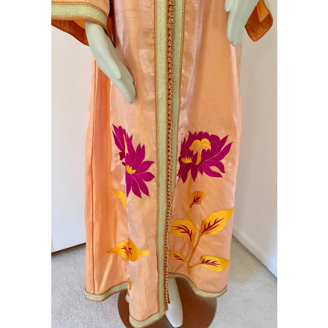Moroccan Vintage Caftan 1970s Kaftan Maxi Dress Orange With Floral Embroideries For Sale In Los Angeles - Image 6 of 12
