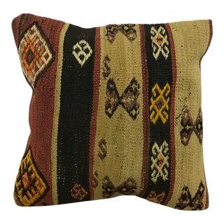 Vintage Tribal Turkish Decorative Khaki and Black Kilim Pillow Cover For Sale