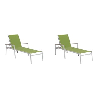 Outdoor Sling Chaise Lounge, Vintage and Green (Set of 2) For Sale