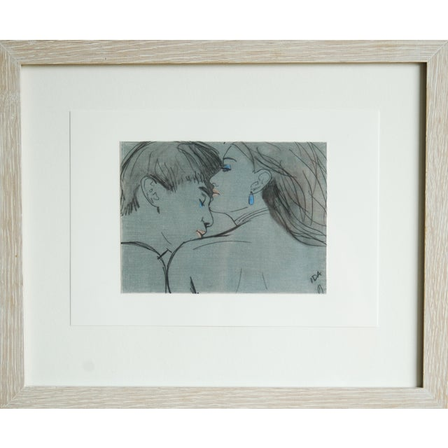"Framed ""The Seduction"" Collage Drawing - Image 1 of 2"