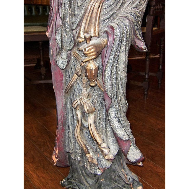 19c Asian Wooden Carved, Painted & Gilded Guanyin Statue For Sale - Image 11 of 12