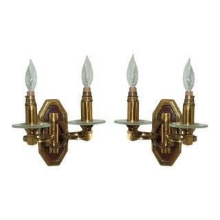 Brass & Bronze Sconces - A Pair For Sale