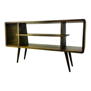 Bungalow 5 Mid-Century Modern Inspired Antique Brass Metal Foil Verra Console Table For Sale